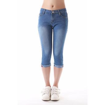 Women's Plain Vintage Blue Capri Short - 3