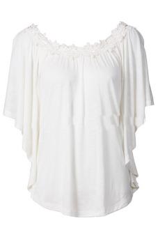 Womens Plus Size Pure Color Lace Top Shirt (White)