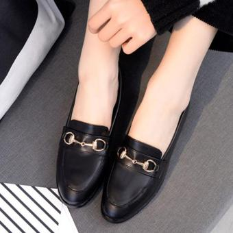 Women's Pointed Toe Flat Loafers Retro Work Shoes with Buckle -intl