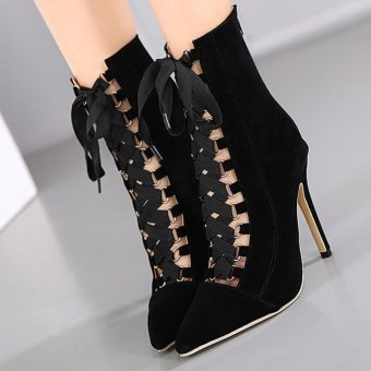Women's Pointed Toe Stiletto Ankle Boots Slim Party High Heels withCheckered Black - intl