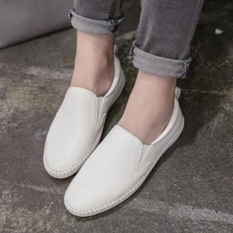Women's Round Toe Flat Shoes Leisure Casual Loafers White - intl Price Philippines