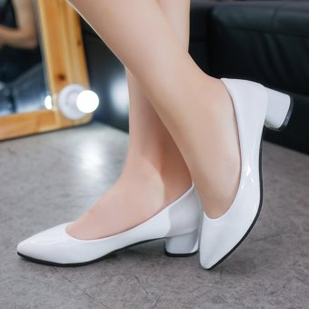 Women'S Shoes With Thick Heel Pu Leather Mid Heel Shoes(White) -intl - 2