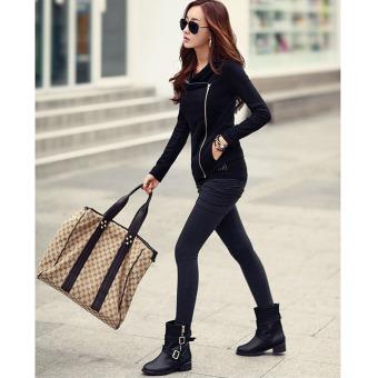 Womens Slim Blazer Zipper Casual Coat Black - 5