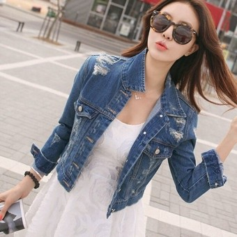 Womens Slim Denim Short Casual Jacket