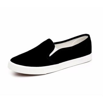 Women's Slip On Loafers Canvas Shoes - Black - 4