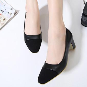 Women's Square Toe Square Heel High Heels Office Ladies Work ShoesBlack - intl Price Philippines