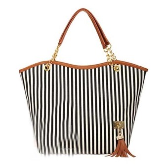 Women's Stripes Snap Candid Tote Bag (Black)
