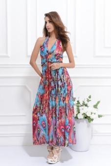 Womens Summer Peacock V-Neack Bohemia Ice Silk Dress