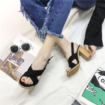 Women's Summer Sandals Velvet Roman High Heels Open Toe ConciseSolid Block Heels Casual Party Sexy Color Black - intl