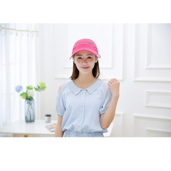 Womens Sun Hat Ladies Girls Outdoor Flodable Quick Dry Cap Anti-UV Sun Hat with Breathable Removeable Face Neck Protection Veil Perfect for Cycling Climbing Fishing Hiking Rose - intl - 2