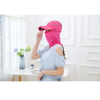 Womens Sun Hat Ladies Girls Outdoor Flodable Quick Dry Cap Anti-UV Sun Hat with Breathable Removeable Face Neck Protection Veil Perfect for Cycling Climbing Fishing Hiking Rose - intl - 3