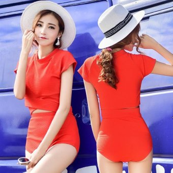Womens Swimsuit Swimwear Two-Piece Split Red Bikini Sets Sunscreen- intl Price Philippines