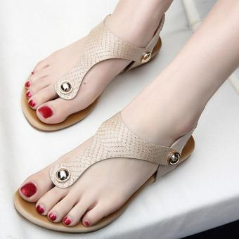 Women's Toe clip Flat Sandals European Casual Shoes Apricot - intl Price Philippines