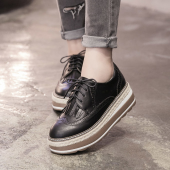 Women's Wedge Brogue Shoes London Loafers Black Price Philippines