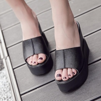 Women's Wedge Slippers European High Heels Black - intl Price Philippines