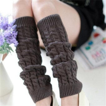 Womens Winter Knit Crochet Knitted Leg Warmers Legging Boot Cover Fashion Dark Grey - intl Price Philippines