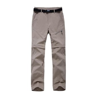 Women's Zip-off Legs Convertible Pants for Climbing HikingFishing(Grey) - intl