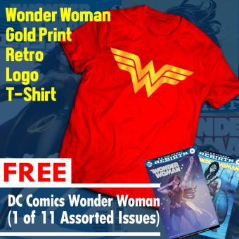 Wonder Woman Gold Print Retro T Shirt with FREE Comics (1 of 11Assorted Issues)