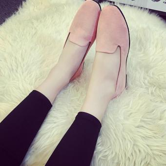 Wondergirls Shallow mouth round flat with frosted velvet surface single shoes Pink - intl - 4