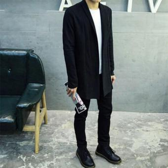 Wool Fashion Trend Men Long Cardigan(Black)
