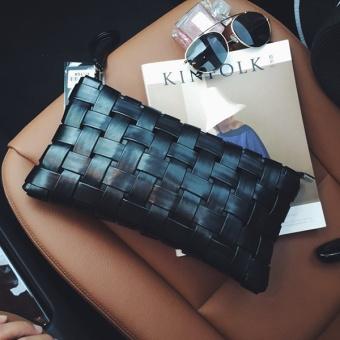Woven elegant clutch bag (Black)