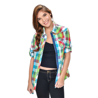 Wrangler Ladies' Checkered Long Sleeves Shirt (Lapis)