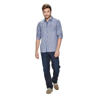 Wrangler Men's Checkered Long Sleeves Shirt (Ash Blue) - picture 4