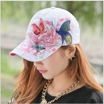 WWang Women Baseball Hat Peaked cap Butterfly Embroidered Cap For Outdoor Sports (White) - intl