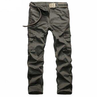 Xialu Men's Plus Fertilizer Straight Mid-waisted Long Cargo Pants Grey (Belt not include) (Intl) - 2