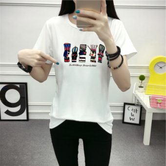 Xingjifeng Women's Stylish Print Short Sleeve T-Shirt Color Varies (325 white)