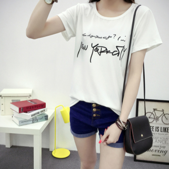 Xingjifeng Women's Stylish Print Short Sleeve T-Shirt Color Varies (5049 white)
