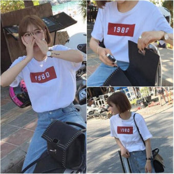 Xingjifeng Women's Stylish Print Short Sleeve T-Shirt Color Varies (White 5130)