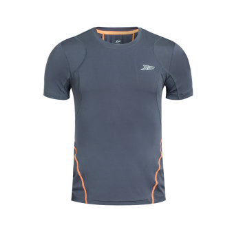 XTEP Brand Men Quick Dry Sport T Shirts 2016 Summer Style Men's Outdoors Running T-shirts Tops O-neck Sportswear (Grey) - intl