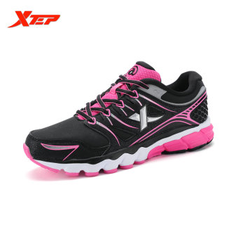 XTEP Brand Professional Running Shoes for Women Light Leather Running Sports Shoes Ladies Damping Athletic Sneaker (Black/Red)