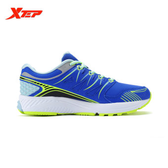 XTEP Brand Professional Running Shoes for Women Light Leather Running Sports Shoes Ladies Damping Athletic Sneaker (Blue) - 2