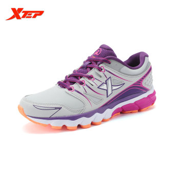 XTEP Brand Professional Running Shoes for Women Light Leather Running Sports Shoes Ladies Damping Athletic Sneaker (Grey)