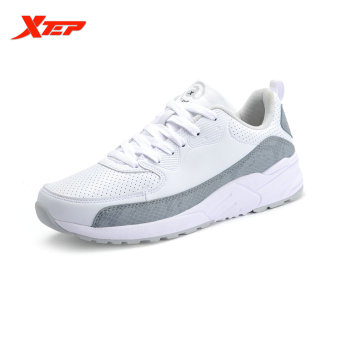 XTEP Brand Running Shoes for Men Athletic Runbber Sneakers Damping Sports Shoes Autumn Winter Men's Shoes (White) - intl