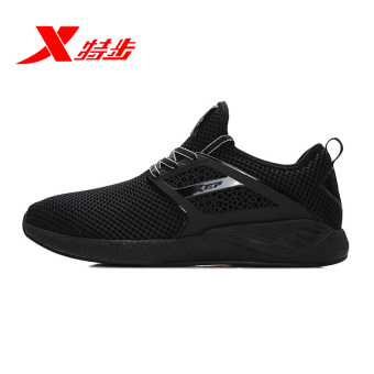 Xtep breathable mesh men casual surface sports shoes men's shoes (Black)