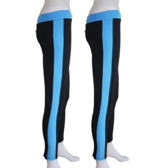 Yabyab Store Work Out Leggings Set of 2 (Black/Blue)