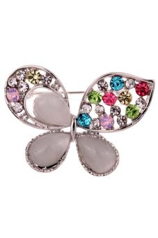 Yazilind Hollow Butterfly Carve Colorful Crystal Faux Pearl Brooches