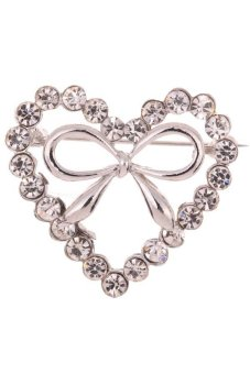 Yazilind Silver Plated Heart Full Crysatl Inlay Bowknot Shape Charm Brooches and Pins for Women