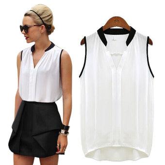 YBC Fashion Women Georgette Shirt Sexy Sleeveless Chiffon ShirtWhite - 2
