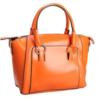 YBC Lady Crocodile Grain Tote Bag With Synthetic Leather HandbagOrange