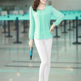 YBC Lady Long-sleeved Straight Chiffon Blouses Shirts Unlined UpperGarment Green - intl - 5