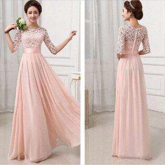 YBC Women Elegant Long Dress Long Sleeve Formal Evening Party Gown Pink - 2