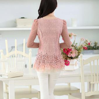 YBC Women Floral Chiffon Blouse Long Sleeve Lace Crochet Casual Tops Pink - 3