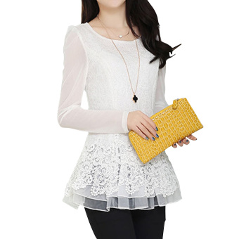 YBC Women Floral Chiffon Blouse Long Sleeve Lace Crochet Casual Tops White