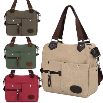 Yidabo Women Canvas Many Pockets Multi-functional Shoulder Bag Handbag Cross Body Messenger Bag (Brown) - Intl Price Philippines