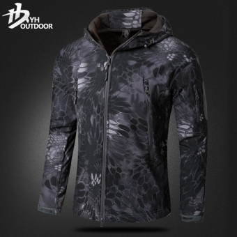 Yihe windproof waterproof warm Camouflage climbing clothes fleece jacket (Black Mang pattern camouflage)