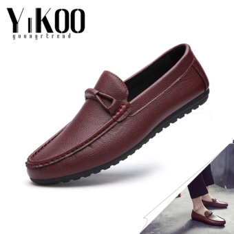 YIKOO Fashion Men's Leather Driving Shoes Casual Slip-Ons &Loafers Formal Shoes England style (Red) - intl